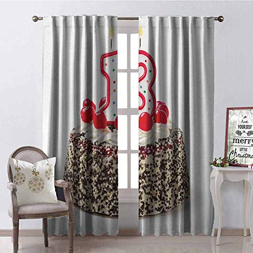Price comparison product image Gloria Johnson 13th Birthday Heat Insulation Curtain Cake with Numeral Candles and Cherries Yummy Tasty Desert for Party Image for Living Room or Bedroom W42 x L84 Inch Multicolor