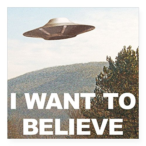 "CafePress - I Want To Believe UFO Sticker - Square Bumper Sticker Car Decal, 3""x3"" (Small) or 5""x5"" (Large)"