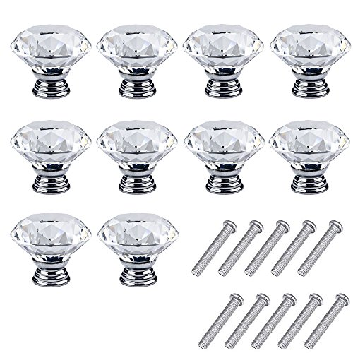 Mosong 10pcs 30mm Glass Clear Cabinet Knob Drawer Pull Handle Kitchen Door Wardrobe Hardware Used for Cabinet, Drawer, Chest, Bin, Dresser, Cupboard, Etc (Clear-Crystal)