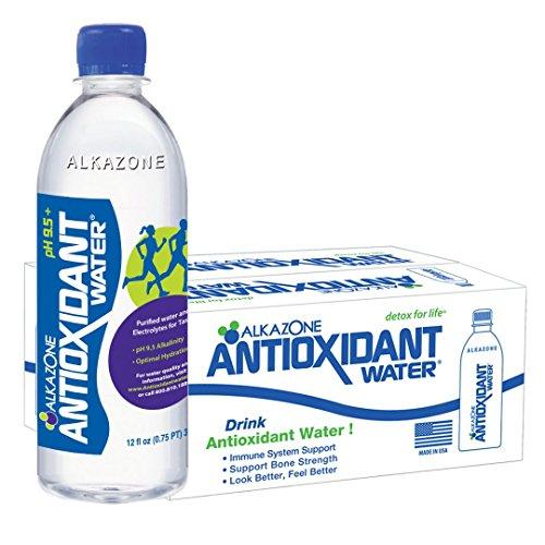 Antioxidant Water - Alkazone Antioxidant 9.5 pH Alkaline Bottled Water, 12 oz, (Pack of 24)