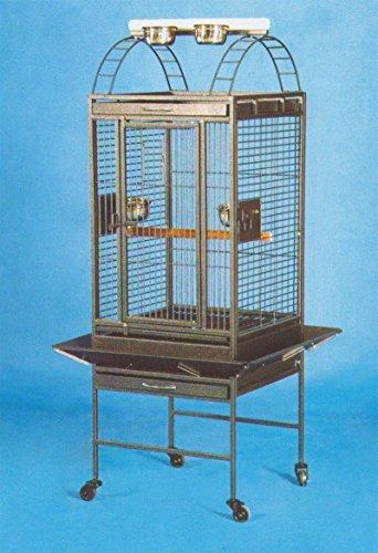 Parrot Cockatiel Bird Wrought Iron Cage Open Play-Top Bla...