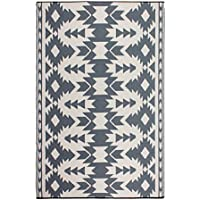 Fab Habitat Reversible, Indoor/ Outdoor Weather Resistant Floor Mat/Rug - Miramar - Gray (4 ft x 6 ft)