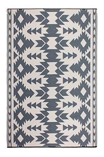 Fab Habitat Reversible Rugs | Indoor or Outdoor Use | Stain Resistant, Easy to Clean Weather Resistant Floor Mats | Miramar - Gray, 3' x 5' (Outdoor Indoor Rug)