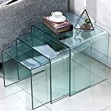 Glass Coffee Tables and End Tables FengHuaGlassHome Premium Glass Coffee 3 Pieces-Office l Shaped Desk Set Small End Modern Side Bedroom Nesting Table, s,m,l, Clear