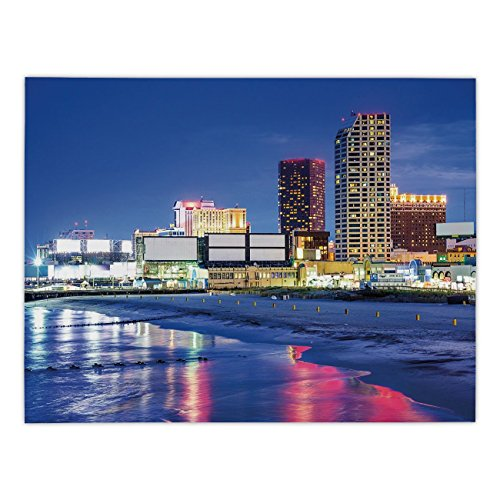 Polyester Rectangular Tablecloth,City,Resort Casinos on Shore at Night Atlantic City New Jersey United States,Violet Blue Pink Yellow,Dining Room Kitchen Picnic Table Cloth Cover,for Outdoor -