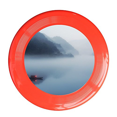Skkoka Frisbee Fishing Boats In The Fog Nature Lake Boat Fog Scenery Mist Lake Fishing Frisbee Family Fun Group Game Variety Of Colors Durable Frisbee Red