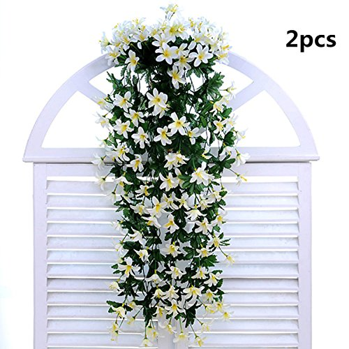 Buds Bow (Coobl® Artificial Silk Lily Bud Garland Plants Vine Flowers Floral Wedding Party Wall Home Decor Purple(2pcs) (white))