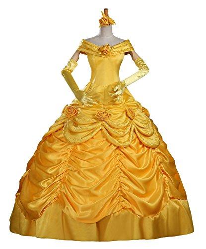 cosrea Beauty und Beast Belle Classic Satin Erwachsene Cosplay Kostüm