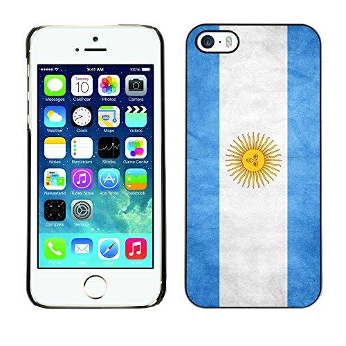 Omega Case PC Polycarbonate Cas Coque Drapeau - Apple iPhone 5 / 5S ( Argentina Grunge Flag )