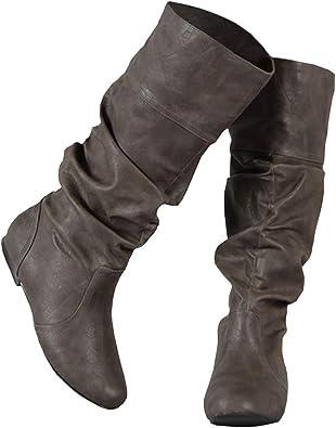 JOYCHEER Womens Wide Calf Flat Boots