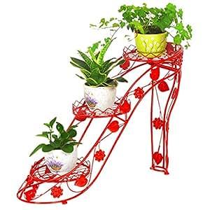 Estantería de flores Estante de flores de hierro forjado de tacón alto, balcón de la sala de estar interior y exterior estantes de piso creativos de tres niveles (selección multicolor) ( Color : Rojo )