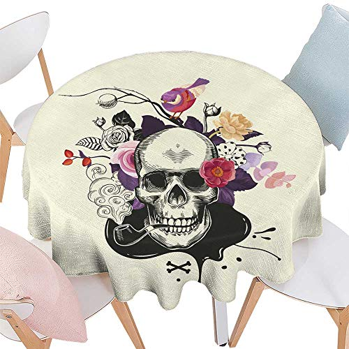 Wrinkle Free Tablecloths Human skull drawn in etching style with smoking pipe in mouth against bouquet of half-colored roses crossed bones and ink stain on background Vector illRound tablecloth D 54