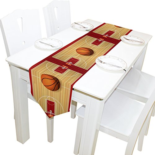 ALAZA Table Runner Home Decor, Stylish Colorful Basketball Court Table Cloth Runner Coffee Mat for Wedding Party Banquet Decoration 13 x 70 inches - Large Basketball Court Runner