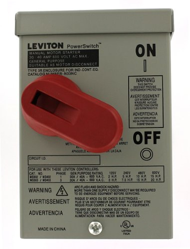 Leviton N33NC-DS Type 3R Enclosure (for use with 30 Amp or 40 Amp Motor Starter Switches), Steel, Gray (Enclosure Starter)