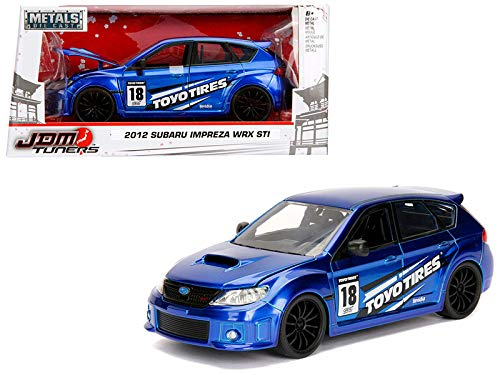 StarSun Depot 2012 Subaru Impreza WRX STI Blue JDM Tuners 1/24 Diecast Model Car Jada