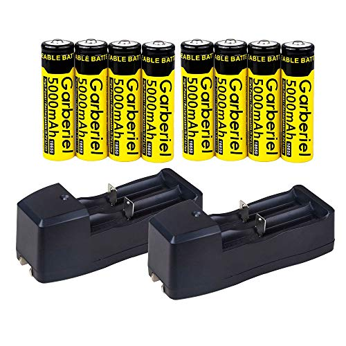 HeCloud 8PCS Rechargeable 18650 Battery with 2PC Dual Smart Charger, 3.7V Li-ion - vapecentral.us