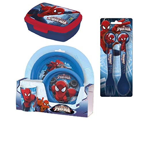 (Spiderman Meal Set with Plate, Bowl, Cup, Fork and Spoon and Sandwich Box)