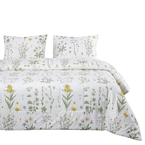 - Wake In Cloud - Botanical Quilt Set, Yellow Flowers Green Leaves Floral Pattern Printed on White, 100% Cotton Fabric with Soft Microfiber Inner Fill Bedspread Coverlet Bedding (3pcs, Queen Size)
