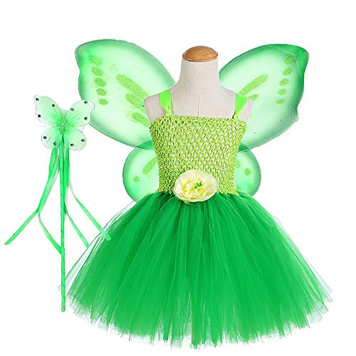 Tutu Dreams Toddler Girls Tooth Fairy Costume Wings Outfit Birthday Party Halloween Easter Holiday (Green, Small) ()