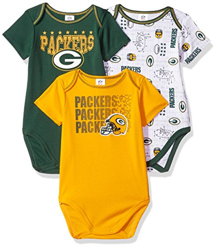 Green Green Bay Packers Fabric - Gerber Childrenswear NFL Green Bay Packers Boys Short Sleeve Bodysuit (3 Pack), 18 Months, Green