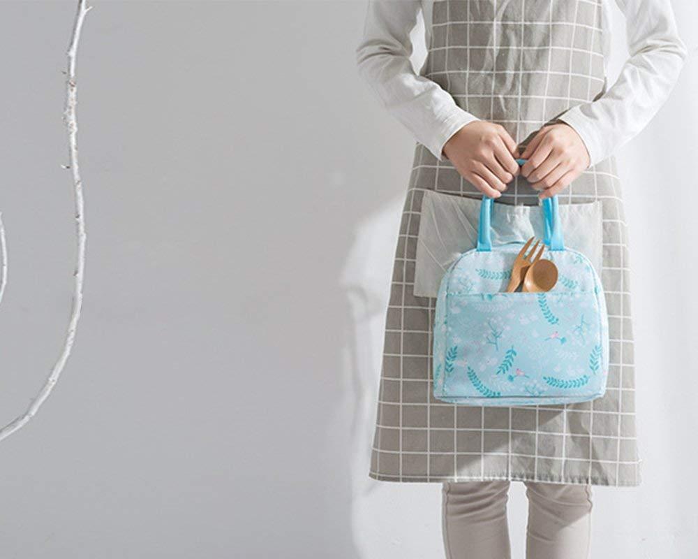 Borsa portapranzo in tela Bento con elegante chiusura con coulisse Blue Stripe ideale per scuola e ufficio