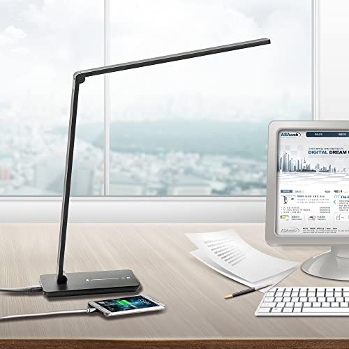 IESSENCE Black Color LED Table Lamp, 9W Dimmable Office Desk Lamp with USB Charging Port 5V,2.4A, Ultra-Slim Study Lamp 3 Color Changing Limitless Levels Brightness and with Memory Function.