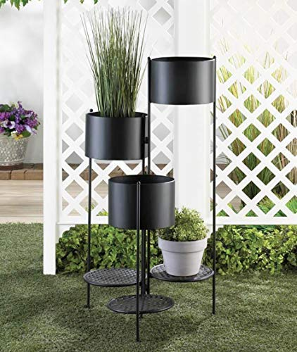 Planter Level Iron Plant Holder, Black Flower Pot Decorative 6 Six Multi Tiered Planters Indoor Outdoor Tall Plant Stand Large Modern Plant Buckets Contemporary Round Plant Pot ()