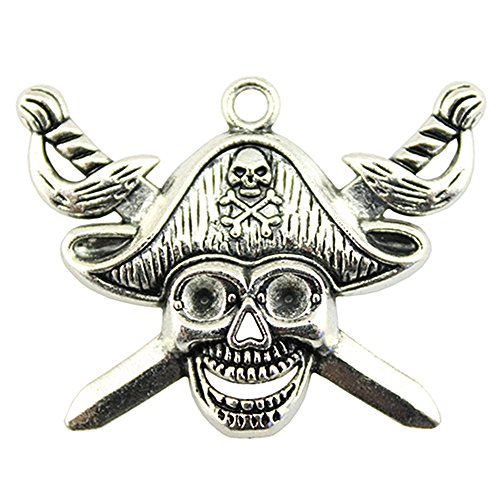 NEWME 8pcs pirate skull with sword Charms Pendant For DIY Jewelry Wholesale Crafting Necklace Making (antique silver)