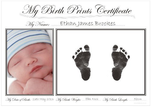 BabyRice New Baby Handprint & Footprint Certificate Kit/Boy Girl Unisex Birth Prints (Boy Certificate Baby Birth)