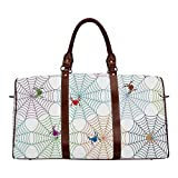 Spider Web Brown Travel Bag,Colorful Networks and Characters Tile Design Graphic Art Cute Abstract Insects Decorative for Home,20.8'L x 12'W x 9.8'H