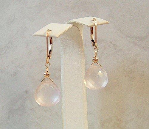 Light Pink Rose Quartz Teardrop Briolette Gold Filled Leverback Earrings Gift (Briolette 14k Gold Earrings)