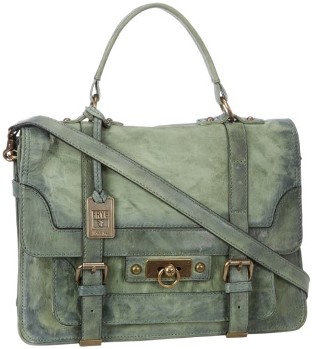 FRYE Cameron Antique Pull Up Satchel,Green,One Size, Bags Central