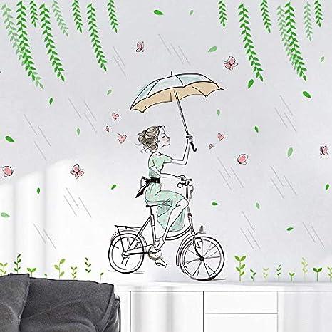 Scrox 1pcs Adhesivo de pared chica bajo la lluvia pared Creativo ...