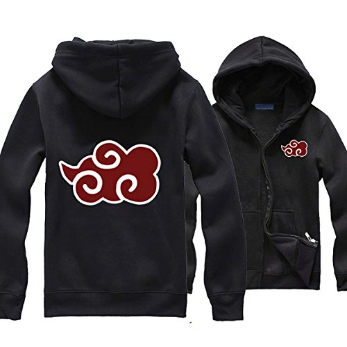 Pulle-A Anime Cosplay Naruto Akatsuki Clouds Orochimaru Uchiha Madara Sasuke Itachi Costume Zip Hoodie Long Sleeve Sweater Jacket Black (Naruto Madara Uchiha Costume)