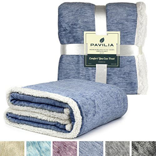 PAVILIA Premium Blue Sherpa Melange Throw Blanket for Twin Bed