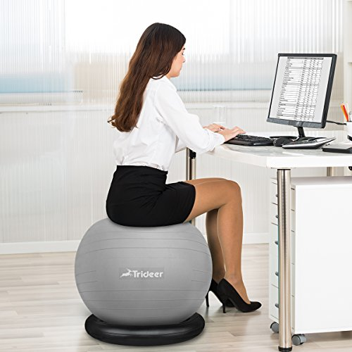 Trideer Exercise Ball Chair, Stability Ball with Ring & Pump, Flexible Seating, Improves Balance, Core Strength & Posture (Office & Home & Classroom) (Ball with Ring (Silver), 65cm) by Trideer (Image #7)