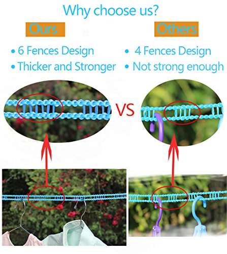 Large Product Image of EVERSPORT 2 PACK Clothesline Clothes Drying Rope Portable Travel Clothesline Adjustable for Indoor Outdoor Laundry Clothesline, Perfect Windproof Clothes Line, Hanger for Camping Travel & Home Use