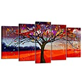 Kreative Arts 5 Pieces Canvas Wall Art Tree of Life Abstract Painting Canvas Prints Framed Ready to Hang Contemporary Pictures Lucky Tree Modern Giclee Artwork for Home Office (Large Size 60x32inch)