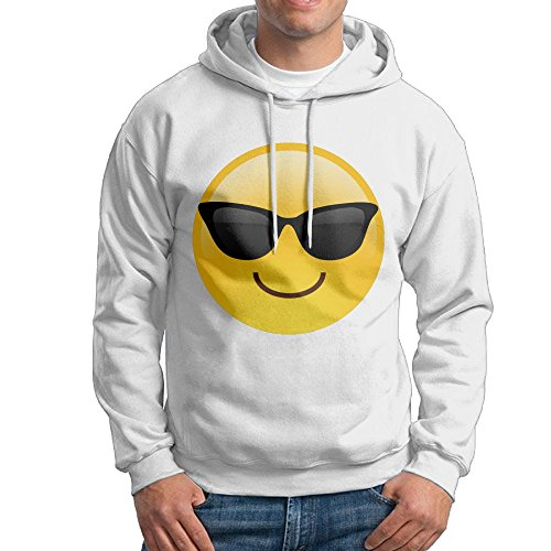 ZhiqianDF Mens Smiling Face With Sunglasses Cool Emoji Leisure Baseball White Hoodies - Sunglasses Okc
