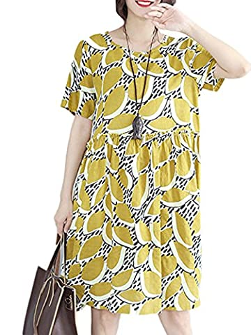 MissLook Women's Round Neck Printed Ruffle Cocoon Loose Midi Dress - Yellow L (Midi Cotton Dress)