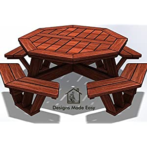 Easy DIY Octagon Picnic Table - Design Plans Instructions for Woodworking 10