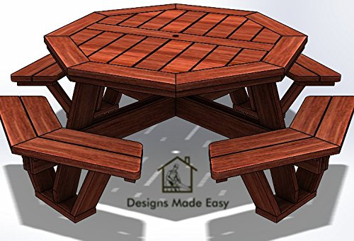 (Easy DIY Octagon Picnic Table - Design Plans Instructions for Woodworking 10)