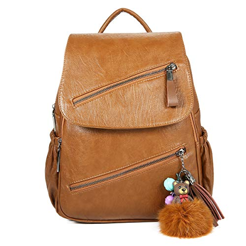 Fashion Backpack Shoulder Bag, JOSEKO Women Travel Leisure PU Leather Backpack Cartoon Tassel Solid Bag Black Brown