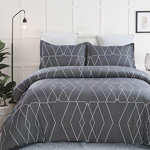 Vaulia Lightweight Microfiber Duvet Cover Sets, Printed Pattern Design, Dark Grey - Twin Size