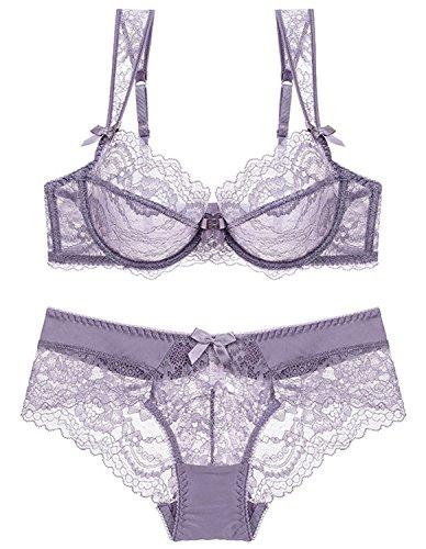 Kimikal Women Transparent Lace Bra and Panty Set Lingerie (36D, (Underwire Bra Lingerie Set)