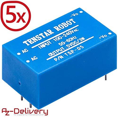 AZDelivery - Fuente de alimentación Mini (220 V a 5 V) 5X 220V zu 5V