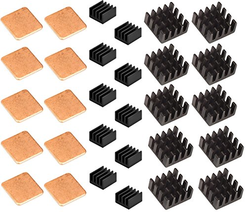 Easycargo 30 pcs Raspberry Pi Heatsink Kit Aluminum + Copper + 3M 8810 thermal conductive adhesive tape for cooling cooler Raspberry Pi 3 B+, Pi 3 B, Pi 2, Pi Model B+ (30 pcs) by Easycargo