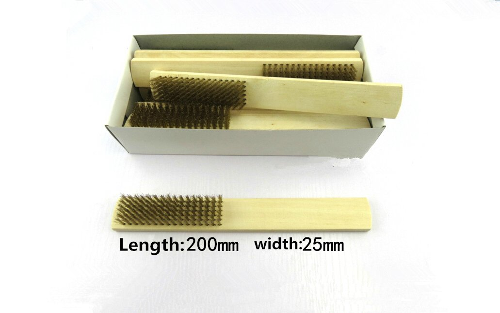 6pcs Wire Brushes Wood Handle Brass Wire Brush Cleaning Tool for Polishing Burr, Cleaning Rust, Grinding Olive and Walnut Cleaning