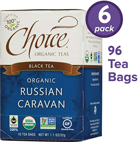Choice Organic Teas Black Tea, 6 Boxes of 16 (96 Tea Bags), Russian Caravan (Russian Caravan Black Tea)