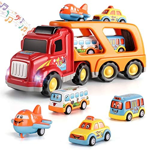 TEMI Carrier Truck Transport Car Play Vehicles Toys – 5 in 1 Friction Power Set w/ Real Siren Sound & Bright Flashing Light, Push and Go Play Vehicles Toys w/ Mini Cartoon Bus/Taxi/Airplane
